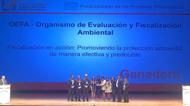 OEFA ganó dos premios en Buenas Prácticas en Gestión Pública 2019