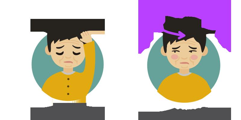 Dolor de cabeza en la parte superior de la cabeza y visión borrosa