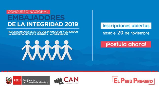PCM y CAN lanzan concurso para reconocer la  promoción y defensa de la integridad y ética pública