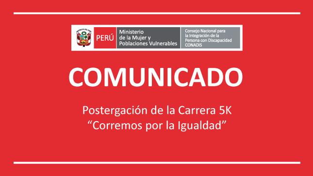 """COMUNICADO OFICIAL Postergación de la Carrera 5K """"Corremos por la Igualdad"""""""
