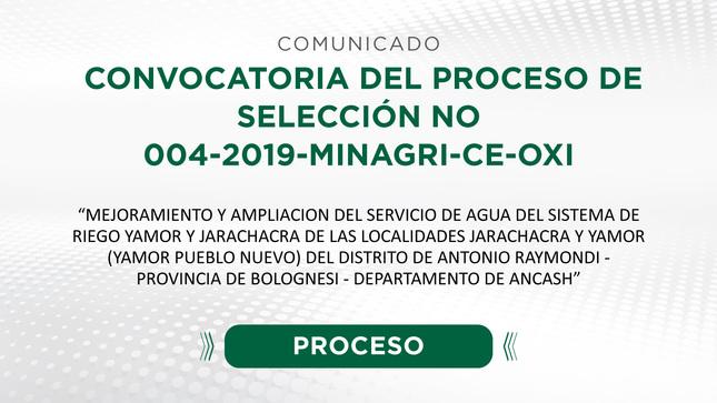 Convocatoria del Proceso de Selección N° 004-2019-MINAGRI-CE-OXI para la contratación de la empresa privada (TUO DE LA LEY N° 29230 Y TUO DEL REGLAMENTO DE LA LEY N° 29230)