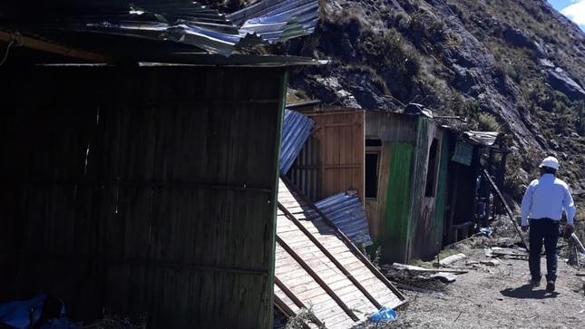 En intervención conjunta destruyen campamento minero en Quebrada Honda del Parque Nacional Huascarán