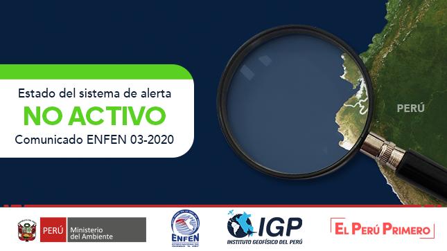 ENFEN N°03- 2020: Estado del sistema de alerta: No Activo