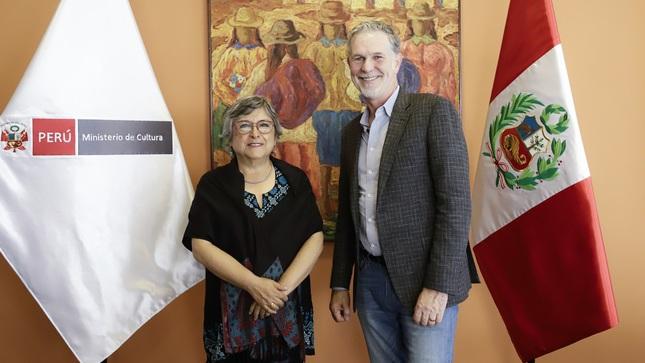 Ministra de Cultura Sonia Guillén recibe a CEO de Netflix Reed Hastings