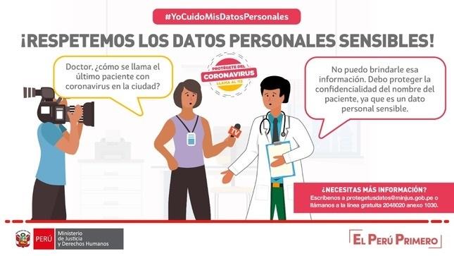 Divulgar datos personales de pacientes con coronavirus puede ser multado hasta con 215 mil soles