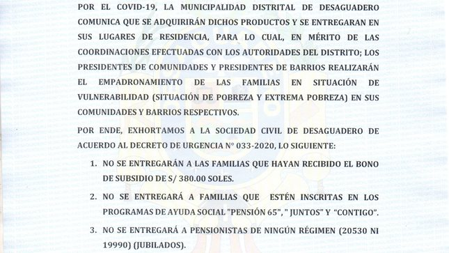 COMUNICADO DE PRENSA N° 010-2020-RRPP/MDD