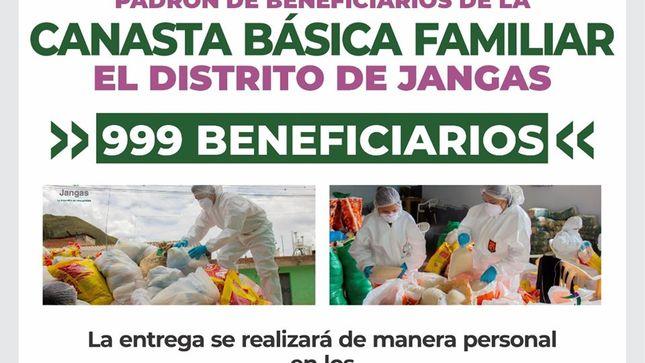PADRÓN DE BENEFICIARIOS DE LA CANASTA BÁSICA FAMILIAR DEL DISTRITO DE JANGAS