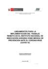 Vista preliminar de documento Lineamientos para la implementación del Trabajo Remoto como medida de prevensión ante el Coronavirus (COVID-19)