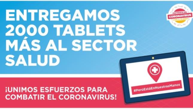 Ministerio de Transportes y Comunicaciones dona 2000 tablets adicionales al MINSA para prevención y atención del coronavirus