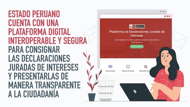 PCM: Estado peruano cuenta con una plataforma digital interoperable y segura para consignar las Declaraciones Juradas de Intereses y presentarlas de manera transparente a la ciudadanía