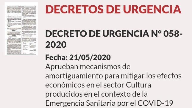 Se aprueba Decreto de Urgencia para mitigar los efectos económicos en las Industrias Culturales, las Artes y el Patrimonio Cultural Inmaterial como consecuencia de la Emergencia Sanitaria