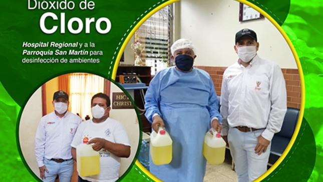IIAP INICIÓ LA ENTREGA DE DIÓXIDO DE CLORO EN CALIDAD DE DONACIÓN AL HOSPITAL REGIONAL Y A LA PARROQUIA SAN MARTÍN
