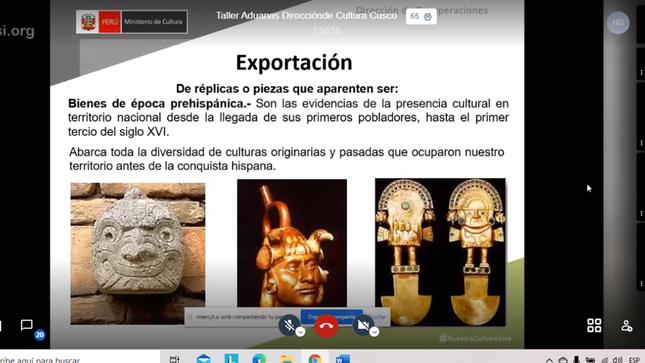 Ministerio de Cultura capacita a Superintendencia de Aduanas del Cusco sobre protección de bienes culturales muebles
