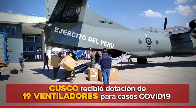 REGIÓN DEL  CUSCO RECIBIÓ DOTACIÓN DE 19 VENTILADORES PARA CASOS COVID19