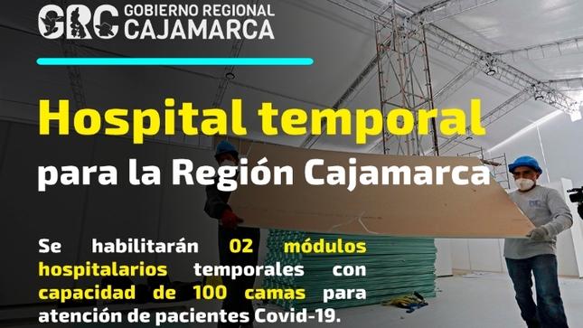 Cajamarca contará con hospital temporal de 100 camas para pacientes COVID-19